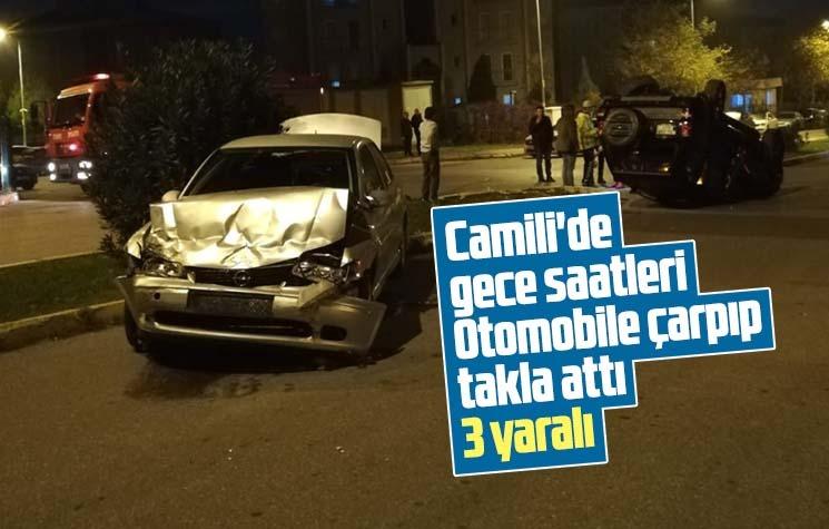 Cip, otomobile çarpıp takla attı: 3 yaralı
